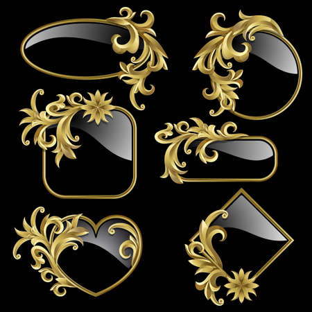 Set from  gold frames with gold plants on the black background