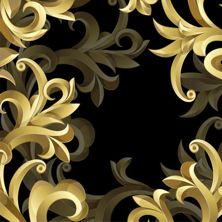 black textured background: Black background with  gold frame from abstract plant. Clipping Mask. Illustration