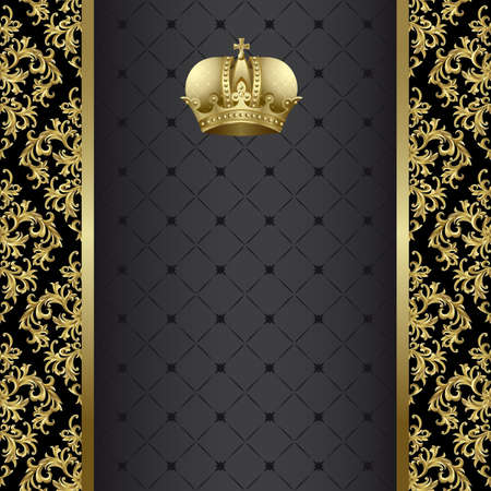 Black background with  gold abstract plant and crown Vector
