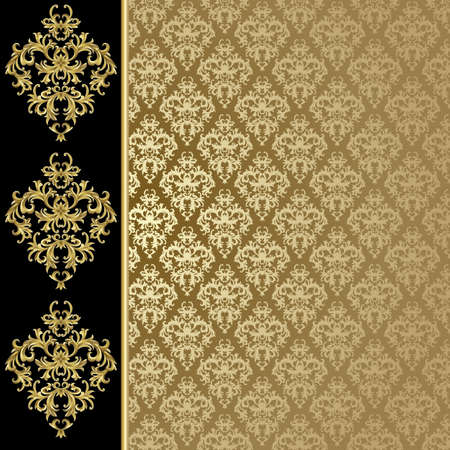 black silk: Black and gold background with abstract plant