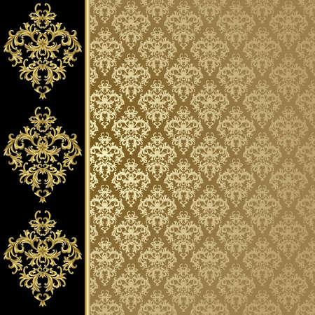 �gold: Fondo negro y oro con planta abstracto