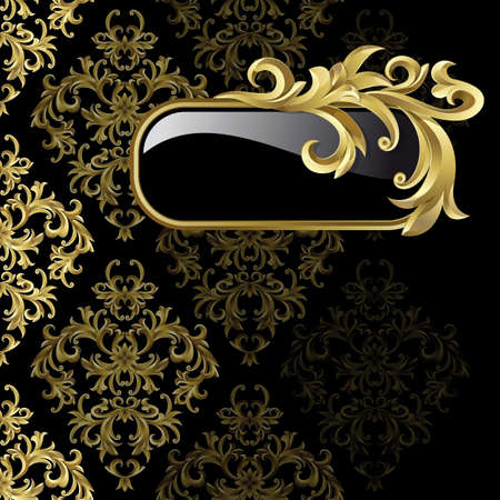 Black background with  gold frame from abstract plant Illustration