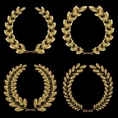 laurel leaf: Conjunto de laurel de oro y corona de roble sobre fondo negro