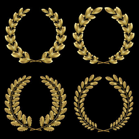 Set from  gold laurel and oak wreath on the black background