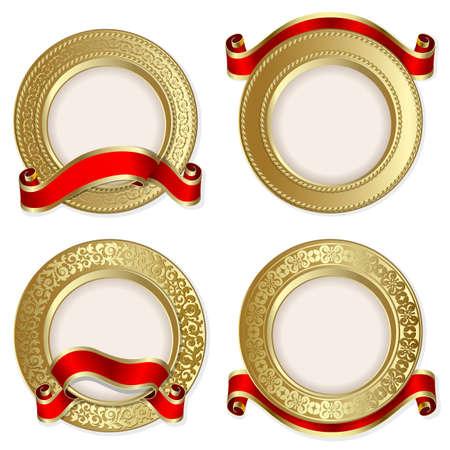 Set aus Gold Hintergründe mit roter Schleife auf dem weißen Hintergrund Illustration