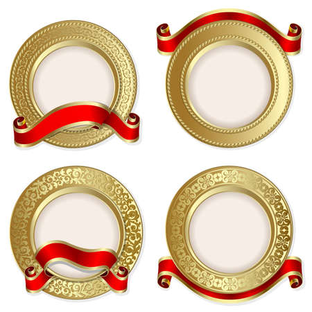 circle frame: Set from  gold backgrounds with red ribbon on the white background  Illustration