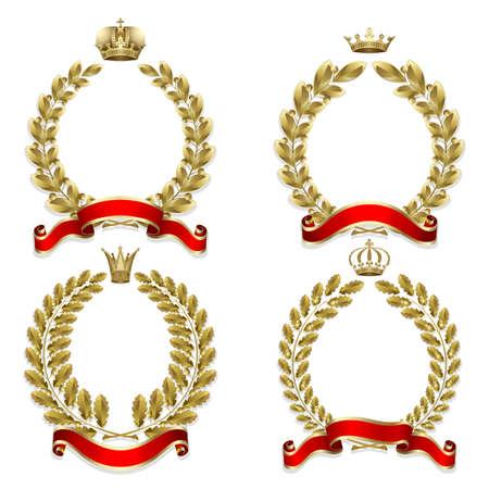 laurel leaf: Conjunto de laurel de oro y corona de roble sobre el fondo blanco  Vectores