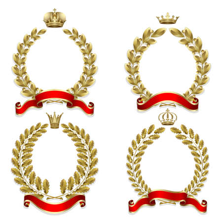 Set from  gold laurel and oak wreath on the white background  Illustration