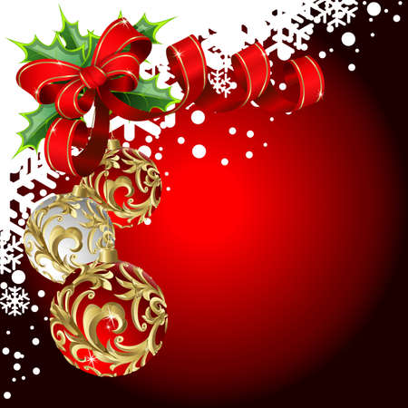 Christmas red background with balls, and bow