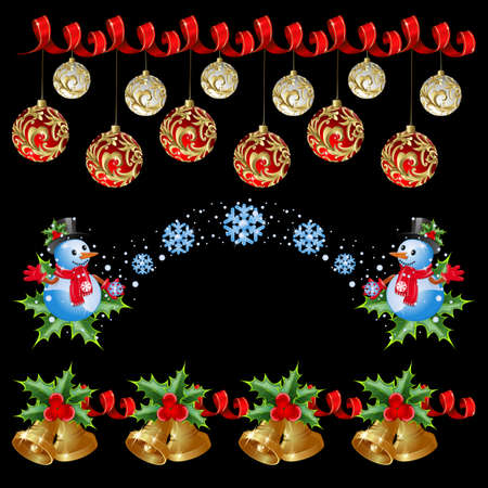 repeated: Christmas borders with balls, ribbon, snowman, snowflake, bells (can be repeated and scaled in any size)