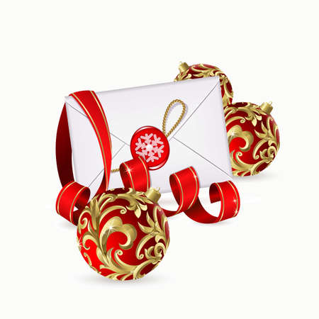 Christmas background with red balls, ribbon and envelope Vector