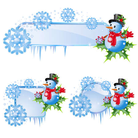 Set from  frames with blue snowflakes and snowman Stock Vector - 10627261