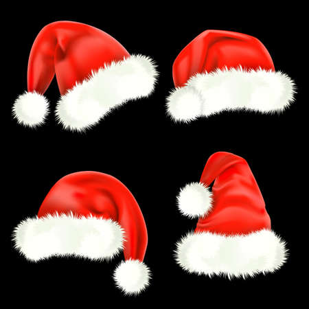산타 모자: 산타 클로스 모자. 메시.