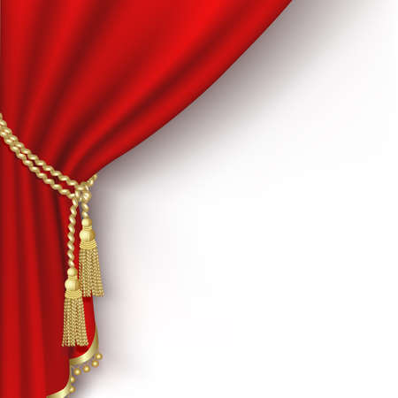 gold string: Red curtain on the  white background