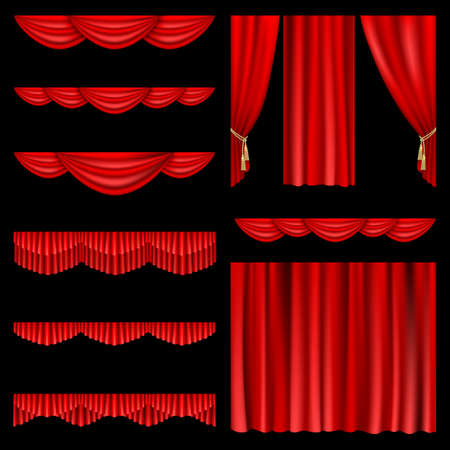 theater: Set van rode gordijnen naar theater podium. Mesh. Stock Illustratie