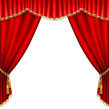 gold string: Theater stage  with red curtain. Isolated on white. Illustration