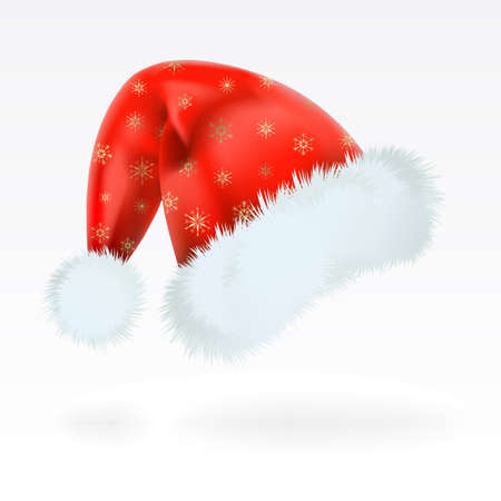 cut outs: Red Santa Claus hat with the pattern of golden snowflakes . Mesh.