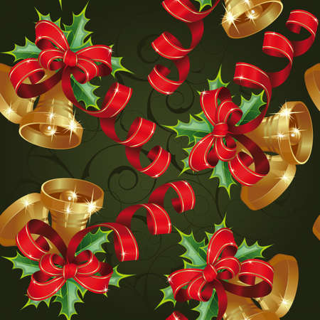 Seamless with bells on a green background. Clipping Mask. (can be repeated and scaled in any size)