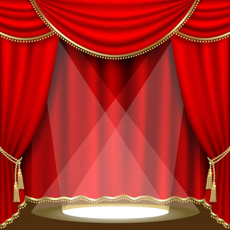 red stage curtain: Theater stage  with red curtain. Clipping Mask. Mesh.