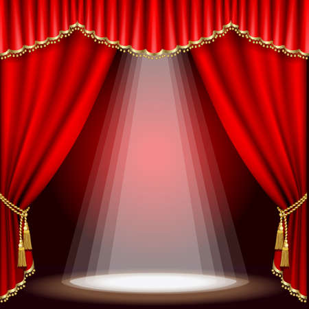 curtain theater: Teatro escenario con tel�n rojo. M�scara de recorte. Malla. Vectores