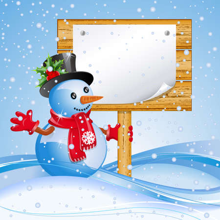 snowman wood: Christmas blue background with snowman and billboard.