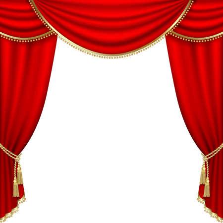 Theater Bühne mit rotem Vorhang.
