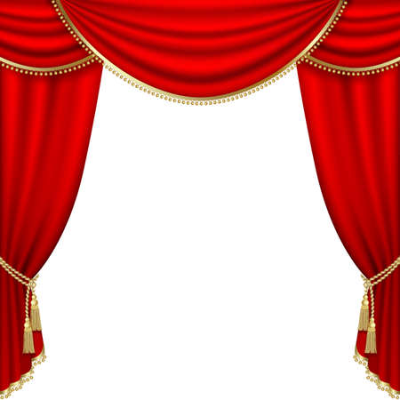 theatrical: Theater stage  with red curtain. Illustration