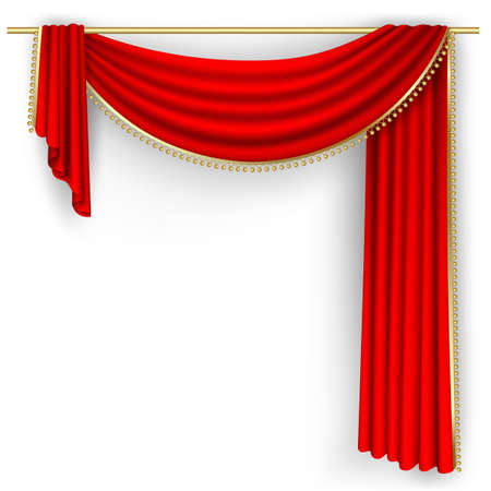 gold string: Theater stage  with red curtain.  Illustration