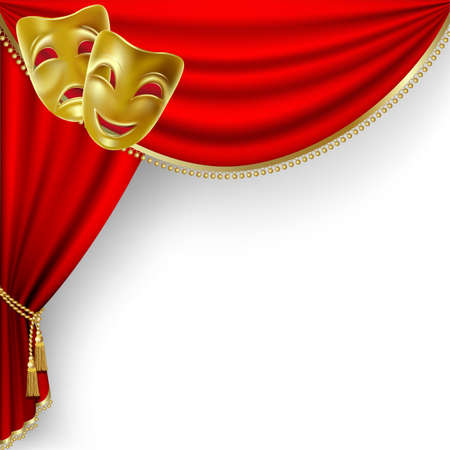Theater stage  with red curtain and  masks Vector