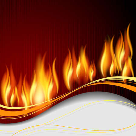 blazing: Background with flame and white wave. Illustration