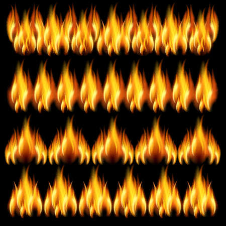 flames icon: Collection of friezes from the fire on a black background.