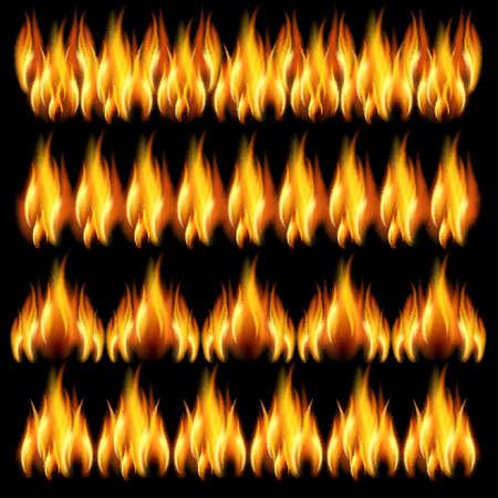 lángok: Gyűjteménye frízek a tűz a fekete háttér.