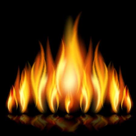 lángok: Flames a különböző formák a fekete háttér. Illusztráció