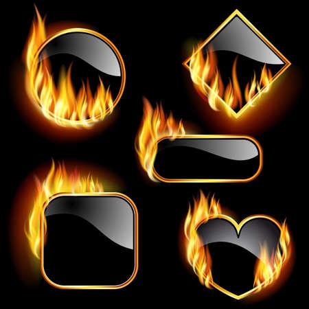 Gruppe von Rahmen mit Flammen in verschiedenen Formen auf einem schwarzen Hintergrund.
