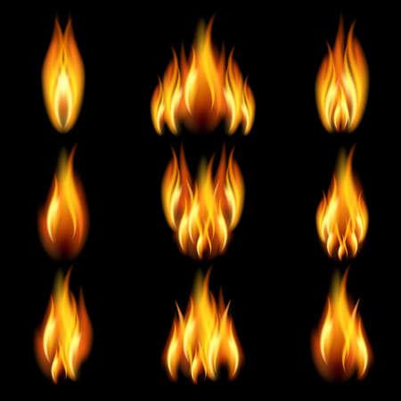 Flames in verschiedenen Formen auf schwarzem Hintergrund.