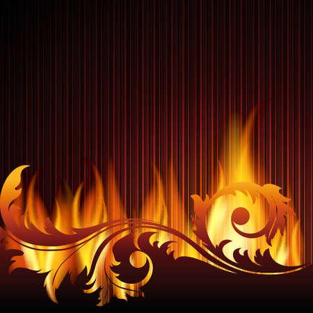 Schwarzer Hintergrund mit Flamme.