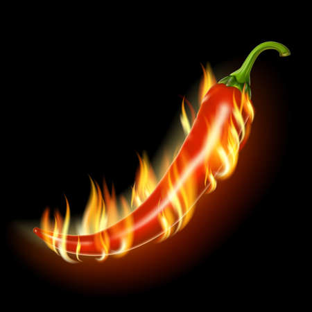 Pepper on fire on a black background .