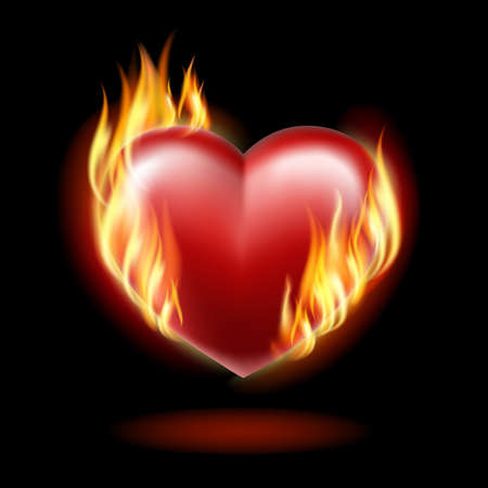 red love heart with flames: Coraz�n en llamas sobre un fondo negro. Vectores