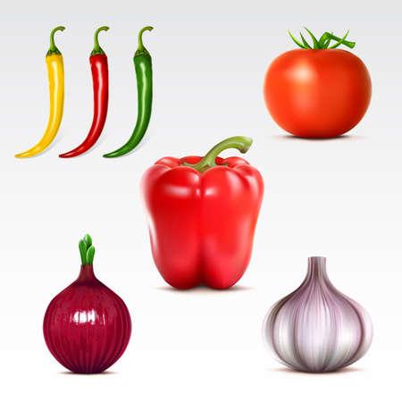 onions: Colección de verduras en el fondo blanco