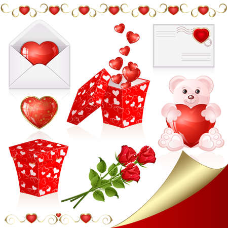 bear berry: Collection of design elements on Valentines Day Illustration