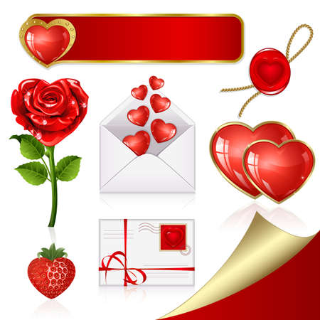 Collection of design elements on Valentine's Day Vector