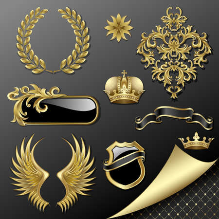 Set of heraldic gold and black design elements