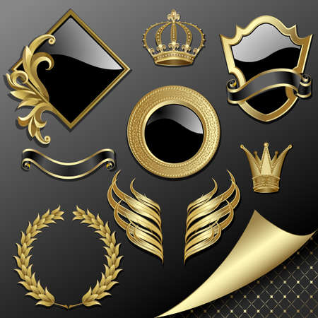 Set of heraldic gold and black design elements Vector