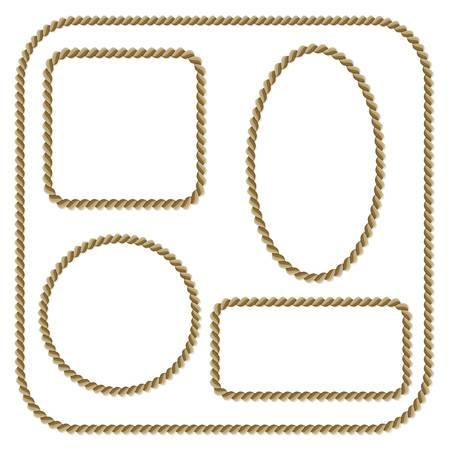 Establecer el marco de la cuerda sobre un fondo blanco Ilustración de vector