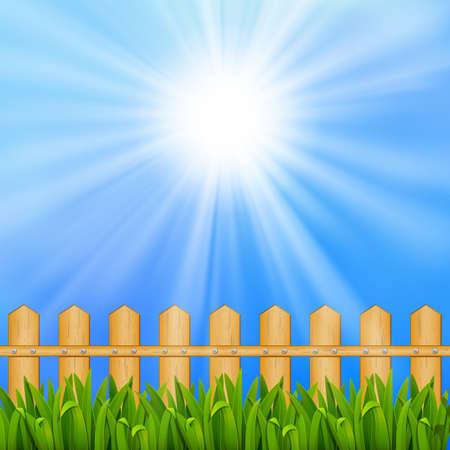lea: Summer background with blue sky and sun, and field  EPS10  Mesh  Clipping Mask Illustration