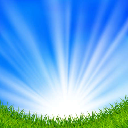 Background with a blue sky, sun and green grass  EPS10  Mesh  Clipping Mask  Vector