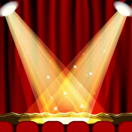 Theater podium met rode gordijn Uitknipmasker Mesh EPS10