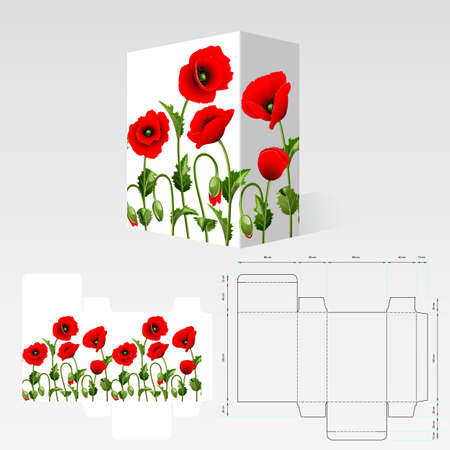 box template: Completed packaging should be printed on paperboard or cardstock