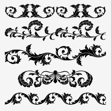 Set of floral design elements on the white background (can be repeated and scaled in any size) Stock Vector - 15562287