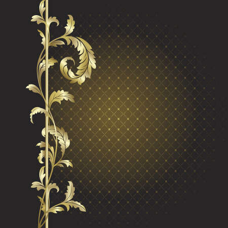 Brown background with gold plants  Vector